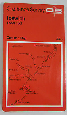 1969 old vintage OS Ordnance Survey Seventh Series one-inch map 150 Ipswich