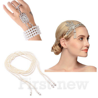 1920s Headband Necklace Bracelet Ring Sets Great Gatsby Vintage Bridal Headpiece