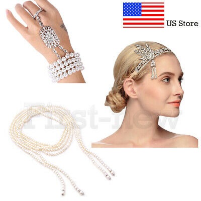 1920s Great Gatsby Headband Necklace Bracelet Ring Sets Vintage Bridal Headpiece