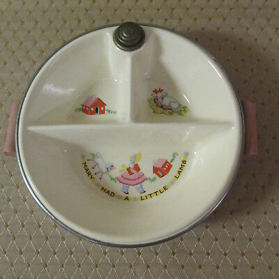 Vintage Bartsch Chicago Childrens Warming Hot Plate Bowl Mary Had A Little Lamb