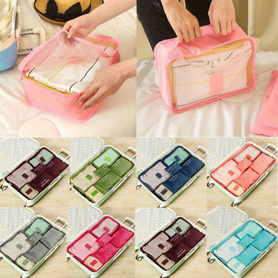 6Pcs Packing Cubes Travel Pouches Luggage Organiser Clothes Suitcase Storage Bag