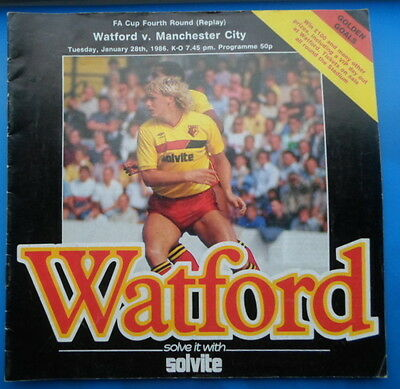 Watford v Manchester City   fa cup 4th round replay  28-1-1986