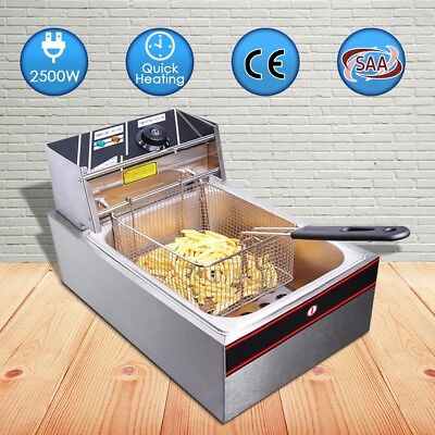 6L Commercial Electric Deep Fryer Frying Basket Chip Cooker Fry Scoop Basket AU