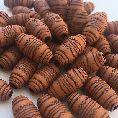 25X Tribal Boho Pattern Beads, 19x9mm Oval Acrylic Brown DIY Craft Macrame Bead