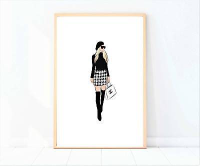 miss coco girl shopping print poster