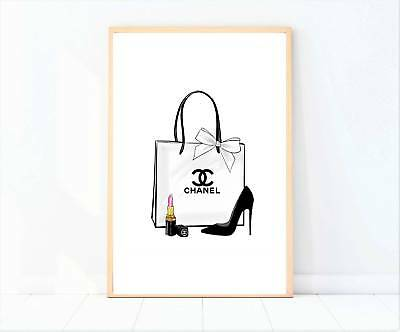 miss coco black and white shopping bag heels perfume print poster