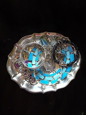 Lot of Silvertone Jewelry Assortment with Silver Tray Included