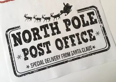 2 x Large North Pole Post Office Stickers - Special Delivery from Santa Claus!