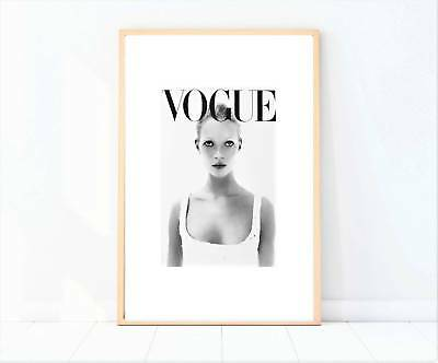 vogue black and white classic magazine makeup beauty artwork print poster