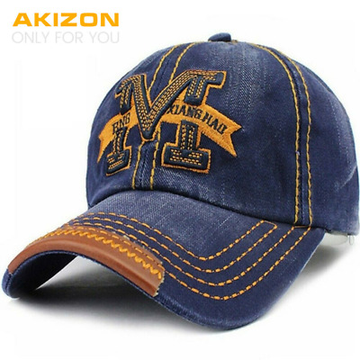 AKIZON Men's Adjustable Cotton Baseball Cap Fashion Style Embroidery Letter «M»