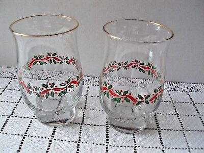 Holly Berry Tumblers Two Christmas Beverage Glasses Arby's Minor Rim Color Loss