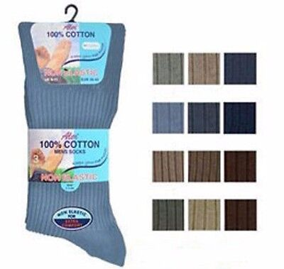 Mens 100% Cotton Non Elastic Socks Loose Top Ideal for Diabetic Aler 3Pair Multi