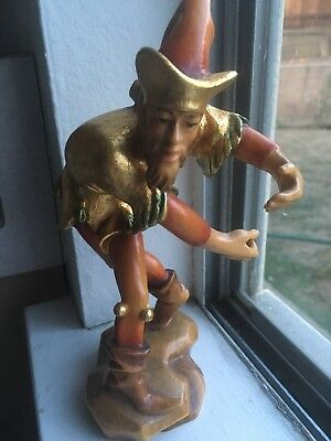 Holz Schnitzerei wood carving painted Salzburg jester clown gold