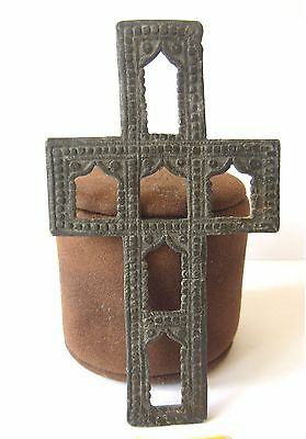Extremely Rare Antique Orthodox Votive Lead Cross With Engraving # 404