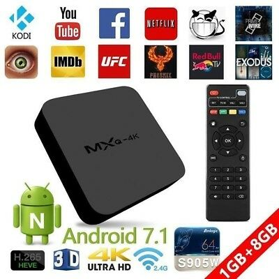 Décodeur multimédia Smart TV Box MXQ 4K Android 7.1 Wifi : Netflix , Youtube ...
