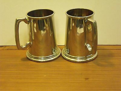 Vintage Sheffield Tankard Pewter Cup 2 Mugs Etched  Glass Bottom