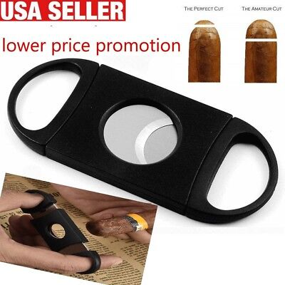 Cigar Cutter Stainless Steel Double Blades Guillotine Knife Pocket Scissors USA