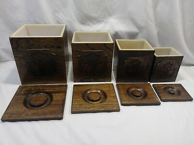 Vintage 1977 Sears and Roebuck 4 pcs. Wooden Canister Set Plastic Liners JAPAN