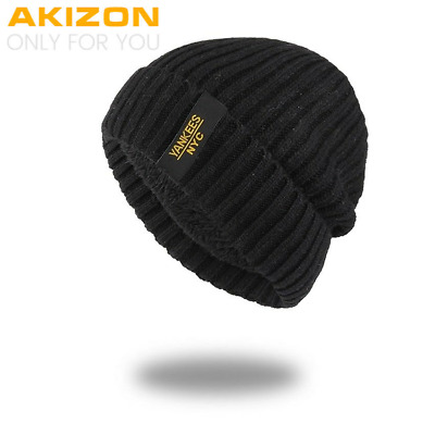 AKIZON Winter Autumn Beanies Hat Unisex Warm Soft Skull Knitting Cap for Men