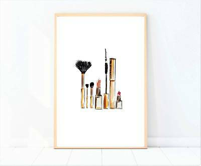makeup brushes artwork painted drawing beauty print poster