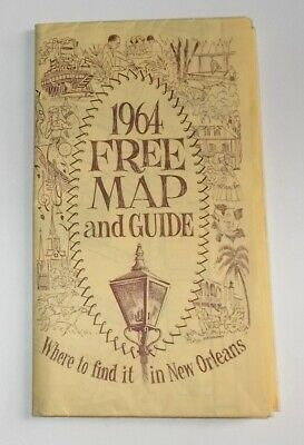 Vintage 1964 Map & Guide to NEW ORLEANS-City Map w Attractions & Photos-EUC