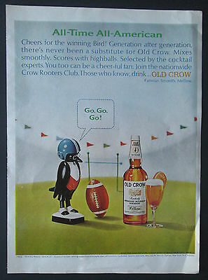 Old Crow Bourbon Football Themed 1966 Original Vintage Print Ad