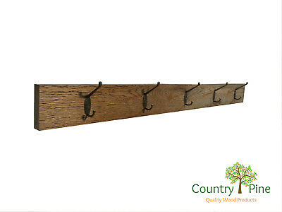 Rustic Oak Coat Rack Wall Mounted Brass Hooks Clothes Hangers - 5 colours - 30mm