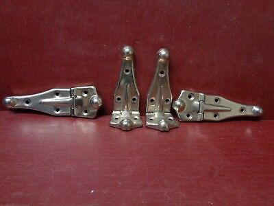 4 Vintage Nos More Avail Cabinet Door Steamer Trunk Chrome Plated Hinges #02