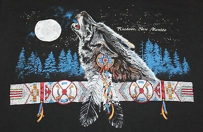 Vintage Ruidoso New Mexico Native American Wolf Howling Men's T-Shirt XL