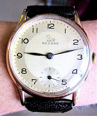 1957 Gents Swiss 9ct Gold Record 15J Mechanical C.022-18 Watch Serviced