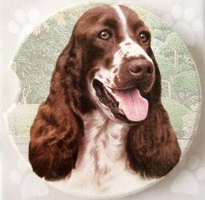 """Springer Spaniel Dog Absorbent Car Coaster Stoneware 2.5"""" Home Office by ES Pets"""