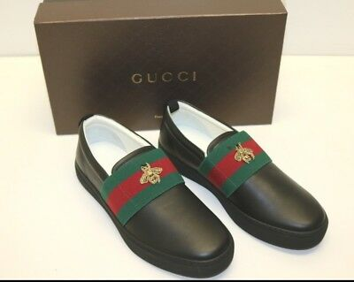 368fdae8897 Gucci Men s Shoes Bee Web Miro Soft Black Loafers Drivers Size G 9.58  Leather