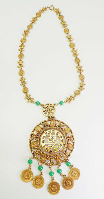 Vintage large gold tone metal Chinese Asian motif necklace by Goldette