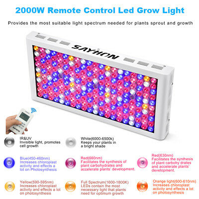 Remote Control Reflector 2000W LED Grow Light Full Spectrum Lamp for Plant Hydro