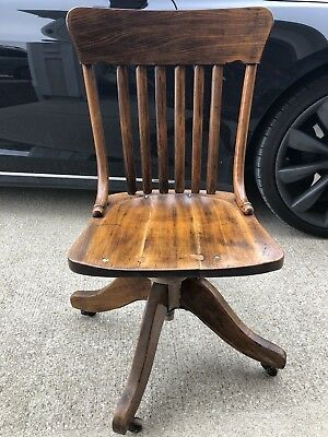 Antique 1900s Crocker Chair Co Swivel Captains Chair, Sheboygan, WI