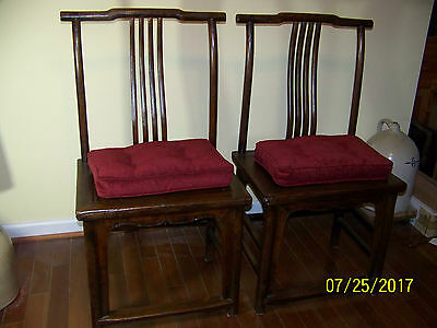 Chinese Qing Dy Huali High Back Temple Scholars Carved Huanghuali Chairs
