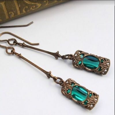1Pair Women Retro Boho Indian Earrings Zircon Green Drop Dangle Ear Stud Jewelry