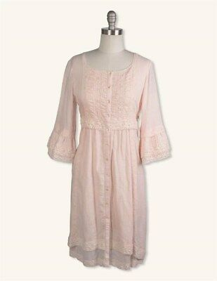 Victorian Trading Co April Cornell Blush Pink Baby Doll Muse Dress LG