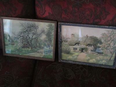 Vintage Shabby Framed Cottage Prints 1930's Chippy Chic Set of 2 Artwork