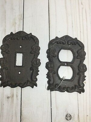 Rustic Cast Iron Ornate French Single Light Switch & Double Outlet Plate Cover