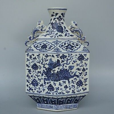 Chinese Exquisite Handmade Dragon(Kirin)flower pattern porcelain vase