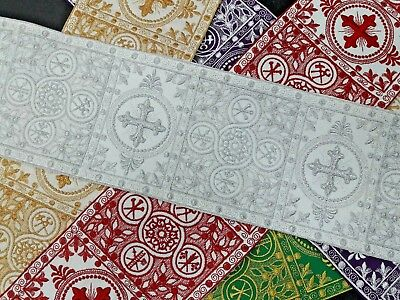"Vestment Alb Banding French Cross 6"" Wide Embroidered Assorted Sold by Yard"