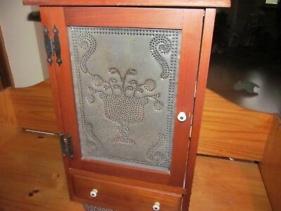 Primitive Wooden Wall Cabinet w/ Punched Tin Door Panel