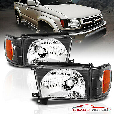 1996-1998 Black Glass Headlight + Corner Light Pair For Toyota 4Runner w/ Bulb