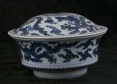 """7.2"""" Xuande Marked Old Chinese Ming Blue White Porcelain Dragon Lids Bowl Bowls"""