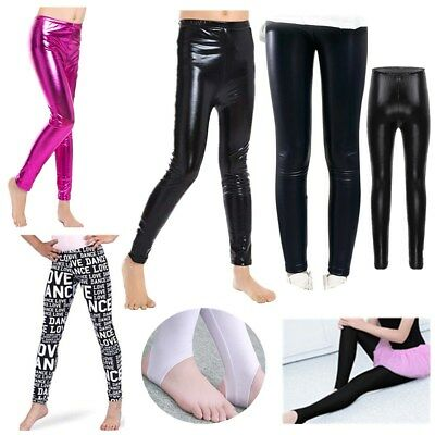 Girls Stretchy Leggings Shiny Pants Skinny Gym Dance Yoga Fashion Tight Trousers