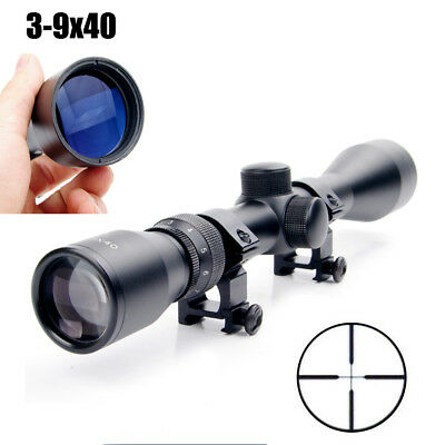 3-9x40  Rifle Scope Optics R4 Reticle Crosshair Air Sniper Hunting w/ 20mm Mount