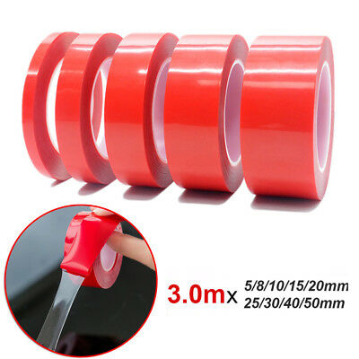 3.0m 5-50mm Red Film Transparent Acrylic Double Sided Adhesive Tape No Traces