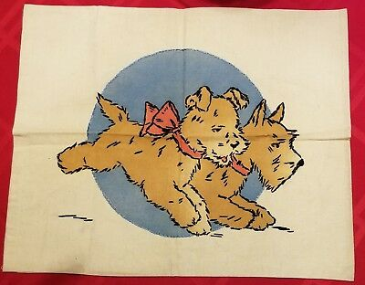 Vintage VOGART Completed TINTED EMBROIDERED Running PuppiesPillow Cover #77A