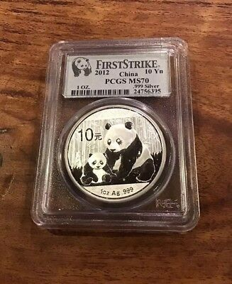 FIRSTSTRIKE 2012 China Silver Panda PCGS MS70 .999 Silver Coin